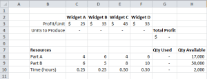 Solver Spreadsheet Setup