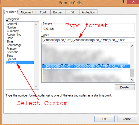 Format Cells with Data Formatting