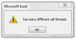 Too Many Different Cell Formats
